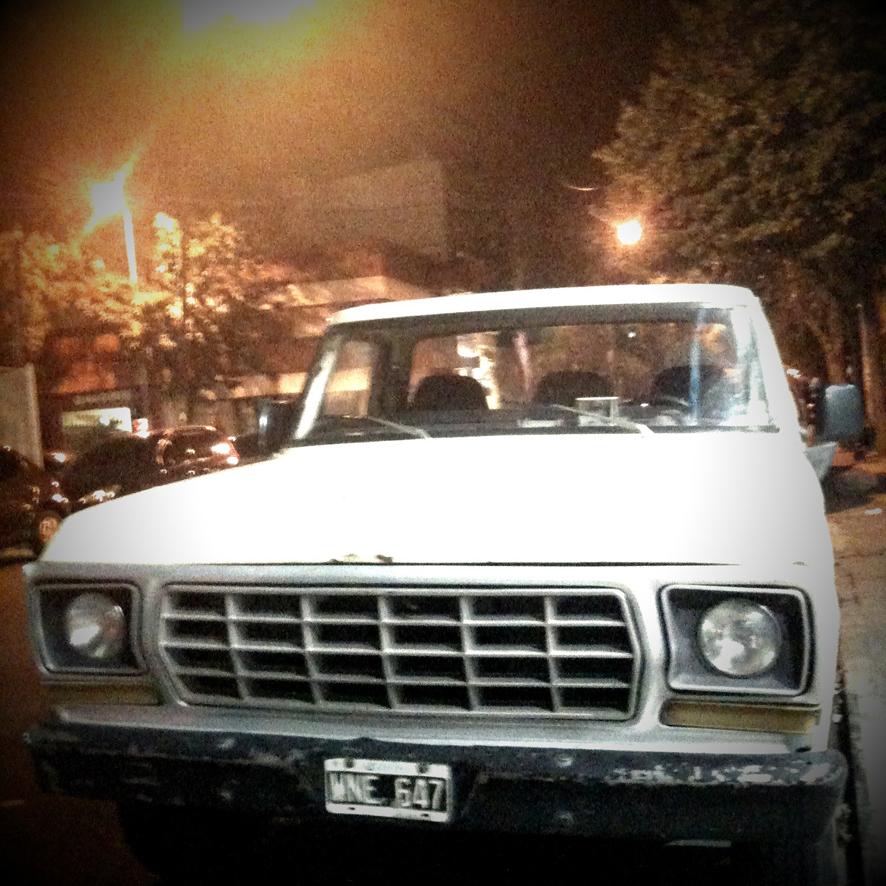 white truck in the dark