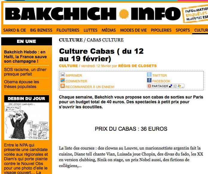 Culture Cabas Bakchich Info