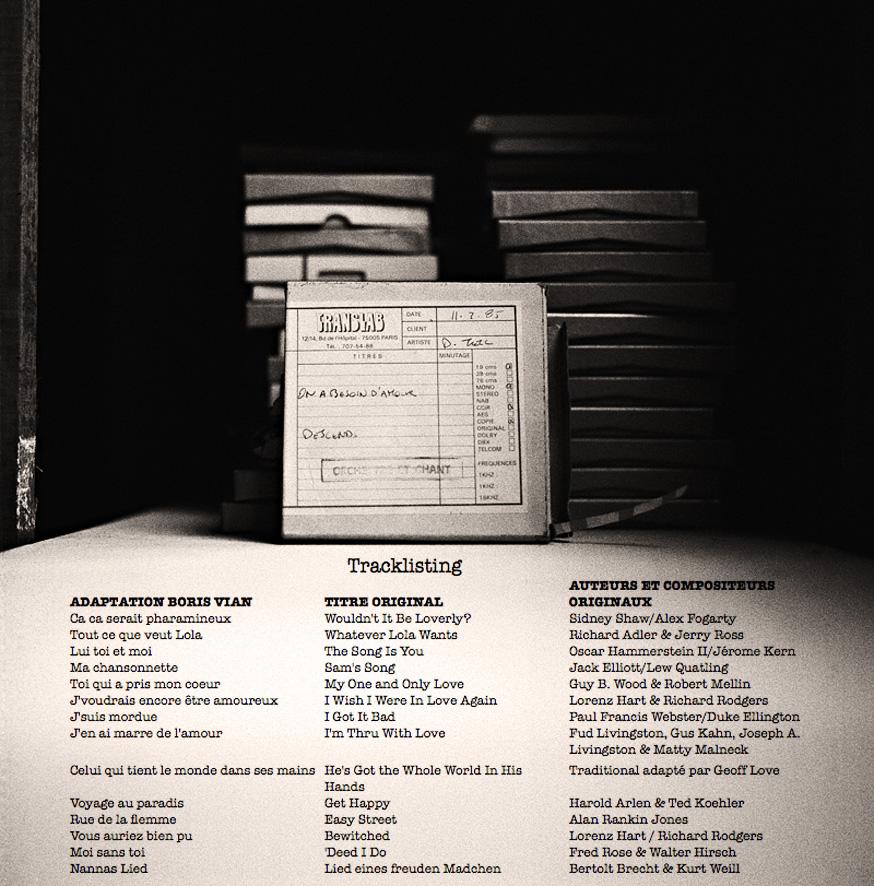 Tracklisting ++++ du programme d'enregistrement