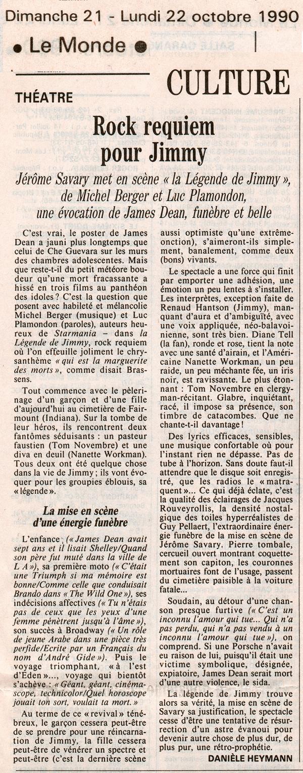 Le Monde – La légende de Jimmy 1990