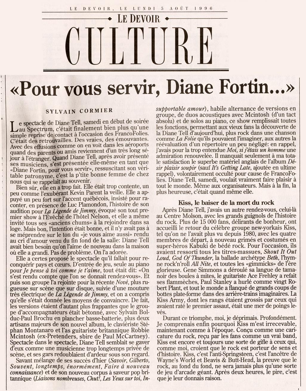 Le Devoir – En Concert à Montréal 1996